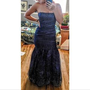 Sapphire Strapless Mermaid Fishtail Evening Gown